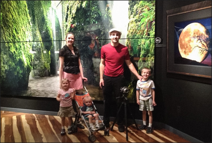 The family in front of a gaint wall print at the Lik gallery. Not a great photo, but I got permission to take a quick one and had another guest grab a snapshot.