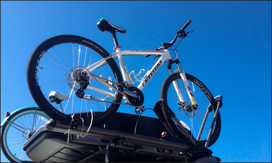 A Yakima rack system gives us lots of extra storage. Room for bikes, storage bin and even a shooting platform.