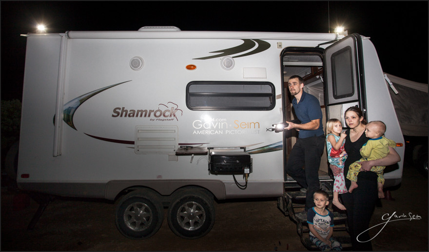 Family safe camping - The good lord, extra supplies and a 12 gauge tactical shotgun for good measure.
