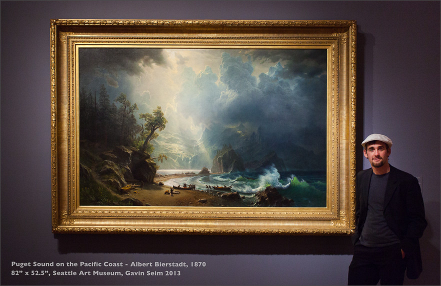 "Gavin Seim at Seattle Art Museum - Original of Puget Sound on the Pacific Coast, by Albert Bierstadt in 1870. It measures 82"" x 52.5"""
